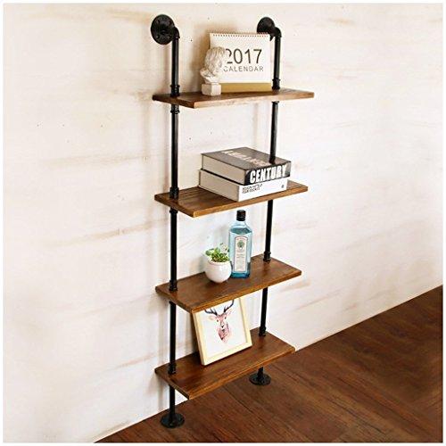 GRY Nouvelles étagères de stockage de style industriel rétro de fer, étagère en bois solide, support de stockage de décoration de mur,50 * 140cm