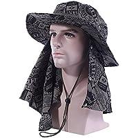 Butterme Unisex Summer Sports de Plein Air protección solar sombrero de pesca de camuflaje sombrero de sol Large borde con desmontables cuello largo Visage Rabat, negro
