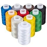 KAGEN Nähgarn – 10 teilig, jeweils 800 m, OEKO-TEX geprüfte Qualität – 100% Polyester, verschiedene Farben, Qualitätsgarn