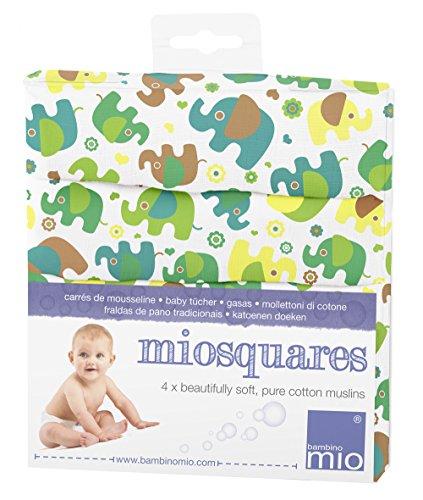 Bambino Mio, miosquares (Mulltücher), Elefantenparade, 70x70cm (4er Packung)