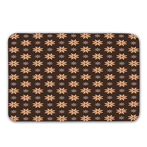 LIS HOME Braun rutschfeste Fußmatte, Frühling Sommer Orange Blumen Küche Wohnzimmer Dekor Kunstdruck Dekorative Fußmatte für die Haustür Indoor Badematte