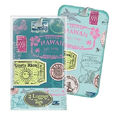 Vintage Travel Retro Stamp Design Luggage Tags x 2 Holiday Travel Suitcase