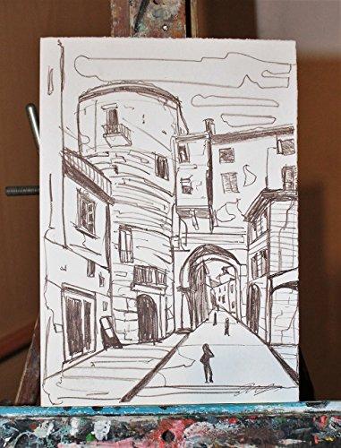Lithographie von Lucca- Lithographie des Künstlers davide pacini  aus lithographischem Stein in der Engel Lucca Typografie,Maße cm 17,5x24,8x0,1cm,origineller, nicht nummerierter Druck,unterzeichnet.