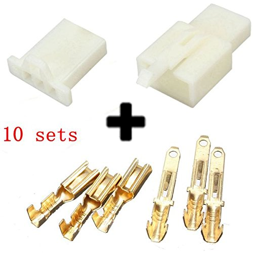 10sets 2.8mm 3 Way Motocicletta Electrical Male
