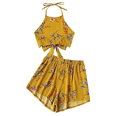 Halter Bra Top Set Jimmkey Two-Piece Outfit Women Flower Printed