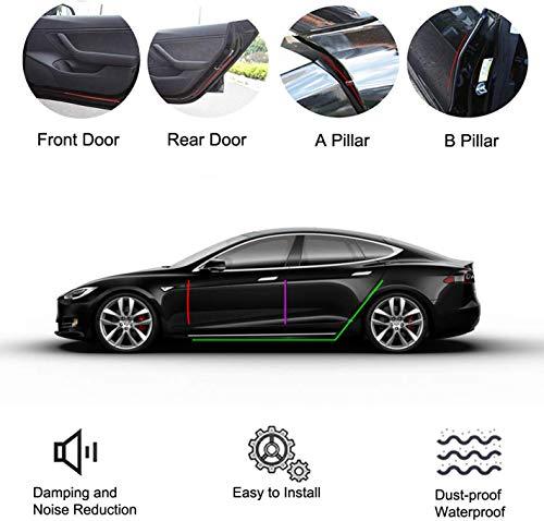 EEIEER 8 Pack Türdichtung Auto Gummi Dichtungsstreifen Kit für Tesla Model 3 Autotür (Vordertür/Säulen/Tür Hinten), Selbstklebende Auto Gummi Dichtungsstreifen, Schallschutz & Geräuschreduzierung