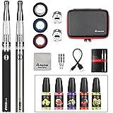 Salcar® Cigarrillo electrónico EVOD CE7 con doble kit de iniciación, batería recargable de 1100mAh, Vaporizador de 2.0ml + 5x 10ml set E-Líquido, 0,00 mg Nicotina ( nergo+plata)