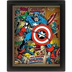 Marvel Retro 10 x 20,32 cmde Capitán América con marco 3D Póster, Multi-color