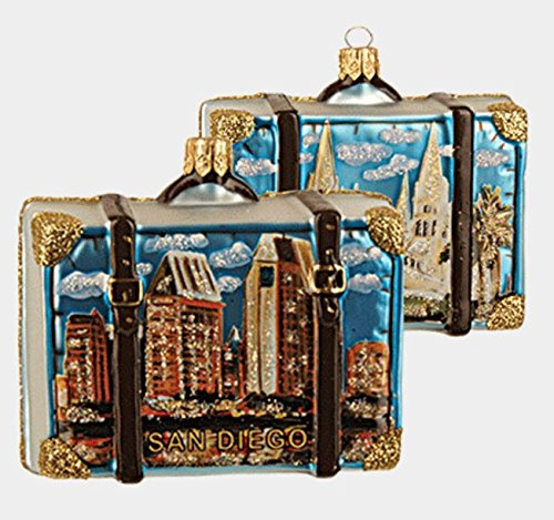 Pinnacle San Diego California Travel Suitcase Glass Christmas Ornament ONE Decoration New