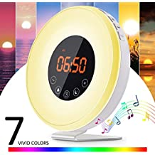 Lichtwecker 6W Wake Up Licht Wecker, Zinmond Wake Up Light mit 7 Farbige LED Lichter, 6 Alarm Töne, 10 Helligkeitsstufen, Sonnenaufgang Simulation für ein natürliches Erwachen (intelligente Schlummerfunktion, FM Radio)