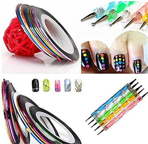 Kit Nail Art Professionnel, Kolylong 5 X 2 Way Marbleizing Dotting Pen Manucure PéDicure Dotting Tool Fimo + 10 Couleur Rolls Nail Art DéCoration Striping Tape Ruban Pedicure De Nail Art DéCo D'Ongles