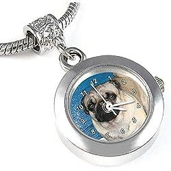 Pug reloj para el collar o pulsera diseño carlino