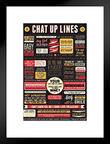 Pyramid America Humor mattierte gerahmtes Poster Chat up Lines 50,8 x 66 cm