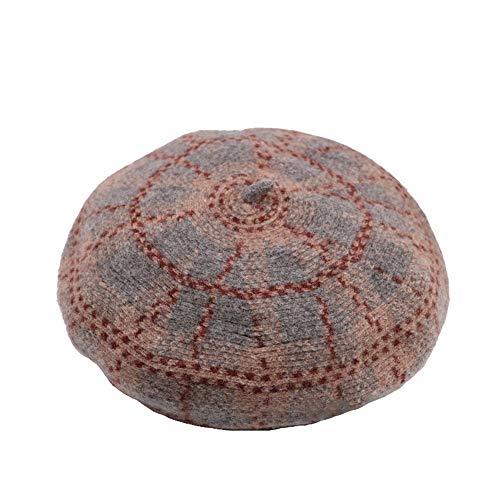 Ying xinguang Der Barett-Hut der Frauen Wolle französisches Barett-Winter-Herbst-Hut-Damen ! (Farbe : Rice ash, Größe : M) - Ash Winter Hut