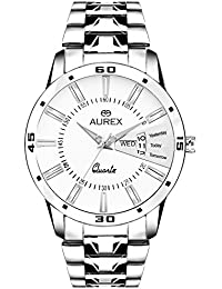 Aurex Stainless Steel Day And Date White Dial Analog Mens Watch (AX-GR102-WHC)