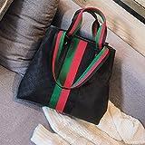 WOAIRAN Weibliche Umhängetasche Damenmode Vintage Druck Streifen Handtasche Damen Einfache Freizeit Große Kapazität Reise Wochenende Paket Schwarz