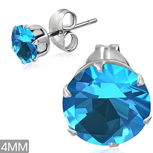 bungsa® Aqua Marine cristallo orecchini rotondo 4mm-1paio di acciaio inossidabile (-Orecchini pendenti con zirconi Crystal uomo ganci auricolari da donna donne Light Mode Studs Earrings)