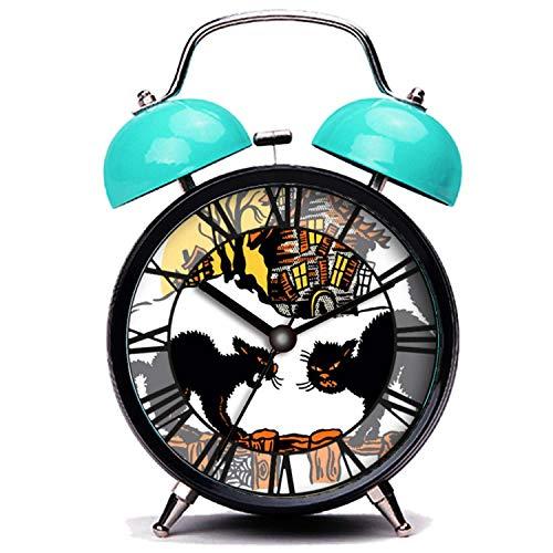 girlsight Blauer Wecker, Nette Katze Vintage Halloween Schwarze Katzen Trick oder behandeln Twin Bell Wecker mit Nachtlicht (Trick Oder Behandeln Halloween-nacht)