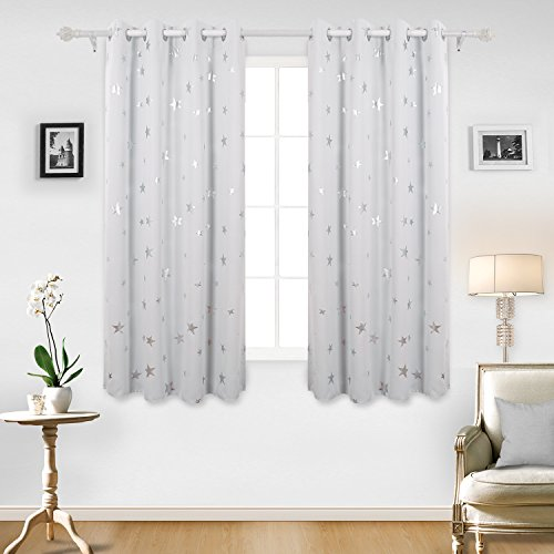 Deconovo Stars Foil Printed Thermal Insulated Ready Made Curtains Eyelet  Blackout Curtains For Bedroom 46 X 54 Inch Greyish White One Pair