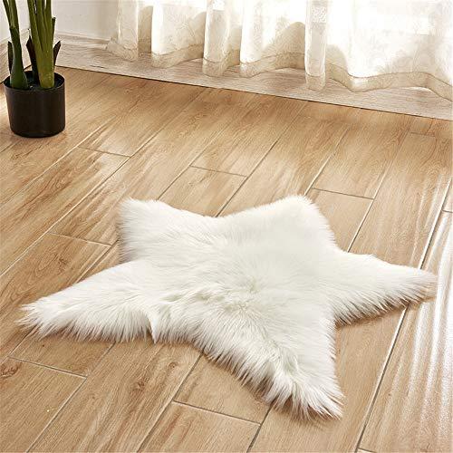Trayosin Weiches Kunstfell Stern Form Teppich Badteppich Plüsch Kinderteppich für Schlafzimmer Wohnzimmer (Weiß) -