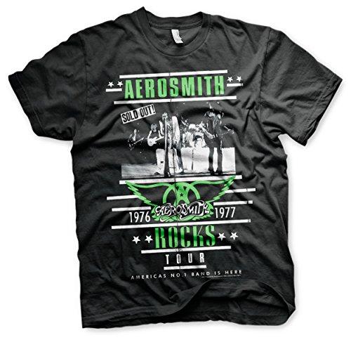 Oficialmente Licenciado Aerosmith ROCKS Tour Hombre Camiseta (Negro), Large