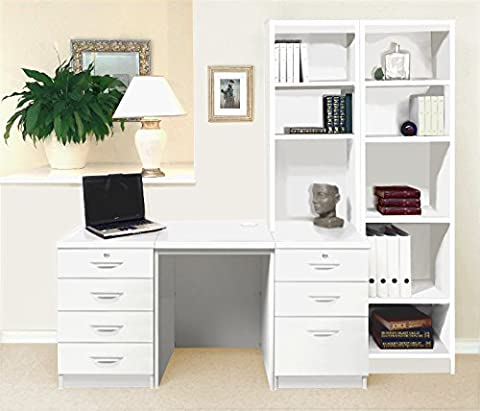 SET-15-IN-WH White Desk With Hutch Shelves Tall Narrow Bookcase Ideas Home Office Furniture UK Contemporary CD DVD Media Storage Student Child's PC Filing Cabinet Metal Dorm