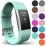 Yousave Accessories FitBit Charge 2 Strap Band - Replacement Silicone Sport Wristband for the FitBit Charge 2 – One to Ten Packs and (Small - Single Pack, Mint Green)