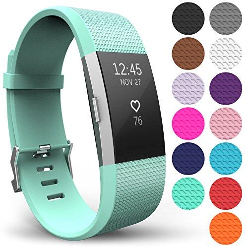 Yousave Accessories® Armband für Fitbit Charge 2, Ersatz Fitness Armband und Uhrenarmband, Silikon Sportarmband und Fitnessband, Wristband Armbänder für Fitbit Charge2 - Klein, Minzgrün