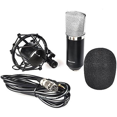 MyArmor Professiona condensador micrófono cardioide Pro Audio Studio Vocal Grabación Micrófono con montaje de choque, BM-700