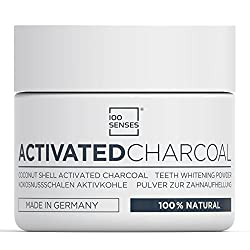 100SENSES Activated Charcoal Teeth Whitening Powder, 100% Natural Black Carbon Powder For Brighter, Whiter And Healthier Teeth