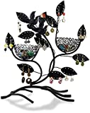 LAUBLUST Schmuckständer im Vogelnest Design - ca. 32x30x11 cm, Schwarz - Dekorativer Metall Schmuck-Halter Ornament Blätter & Ring-Nester | Schmuck-Aufbewahrung | Ohrring-Ständer | Ketten-Halter