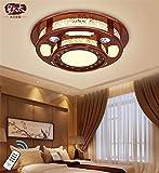 BRIGHTLLT Neue chinesische Deckenleuchte runde Wohnzimmer Lampe LED Massivholz Jugendstil acryl Schlafzimmer antik, 480 mm Lampen