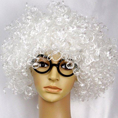 Halloween Perücken Party Show Requisiten Farbe Clown explosive Haare Cap ( Farbe : Weiß )