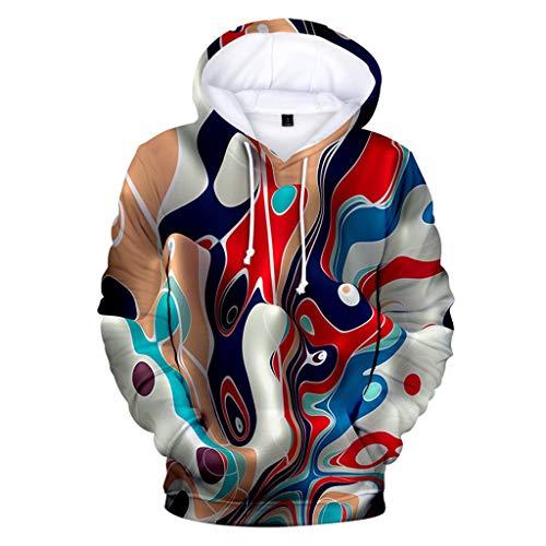 ODRD Unisex 3D Hoodie Realistisc 3D Doodle Vortex-Bewegung Druck Kapuzenpullover Langarm Pullover mit Tasche S-XXXXL (Crew-angora-wolle-pullover)