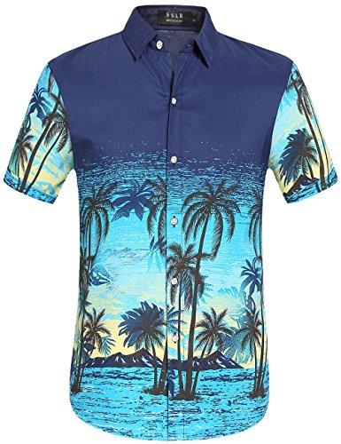SSLR-Camisa-Hawaiana-Aloha-Hombre-Manga-Corta-Casual-Estampado-para-Vacaciones-X-Large-Azul
