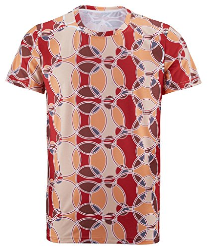 Cosavorock 70er Platte Retro Herren Retro-T-Shirt (AS:4XL, EUR:2XL, Rot)