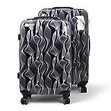MasterGear Design Koffer Set 2 tlg in schwarz / weiß , Größe: M & L , Reisekoffer 4 Rollen (360 Grad) , Trolley, Kofferset, Hartschalenkoffer , ABS Koffer Hartschale mit Zahlenschloss, stapelbar