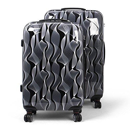 MasterGear Design Koffer Set 2 tlg in schwarz / weiß , Größe: M & L , Reisekoffer 4 Rollen (360 Grad) , Trolley, Kofferset, Hartschalenk...