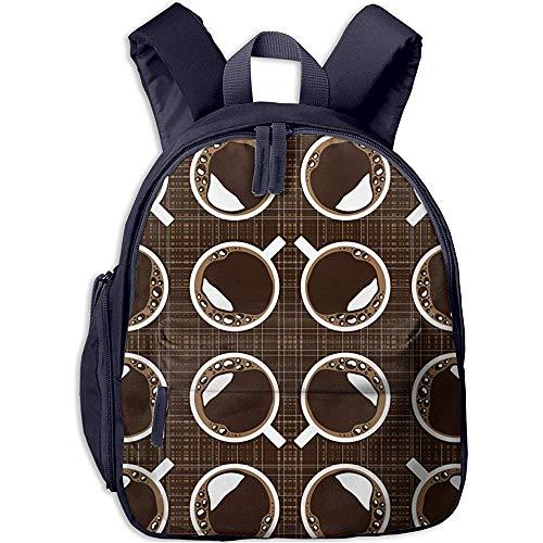 Büchertasche,Junge/Mädchen Tagesrucksack,Kinderschultasche,Kindergarten Backpack,Feine Tasse Kaffee Leichter Reisetaschenrucksack,Kinderschultertasche
