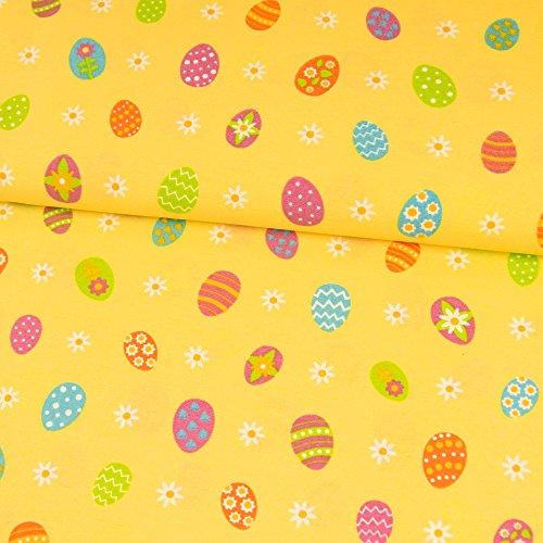 Dekostoff bunte Eier gelb Canvas Ostern - Preis gilt für 0,5 Meter - (Polyester-canvas-tasche)