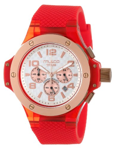 Mulco Women's 45mm Red Silicone Band Steel Case Swiss Quartz Grey Dial Chronograph Watch MW29619063