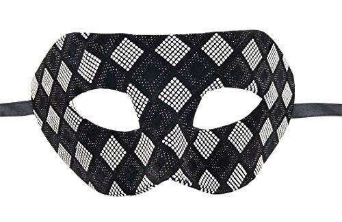 Flywife Herren Maskerade Maske Leder Kariert Retro Venezianisch Party Ball Römisch Halloween Mardi Gras Karneval Maske (Schwarz Silber Kariert)