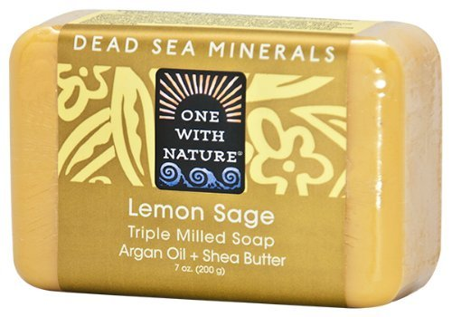 One With Nature Dead Sea Mineral Soap, Lemon Sage, 7-Ounces (Pack of 6) by One With Nature