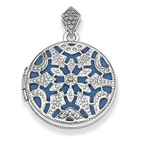 Sterling Silber 20mm rund mit Diamond Vintage Medaillon (Sterling Silber Diamant-medaillon)