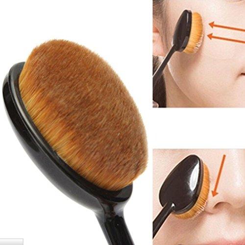 Ovale TopSuper Pro-Pennello per fondotinta liquido per cosmetici, colore: rosa Blush-Polvere a base di pigmenti - Ovale Mat