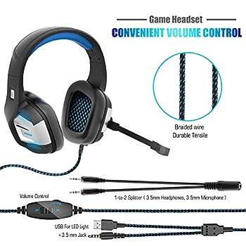Cuffie Gaming PS4 PC Antirumore Over Ear con Microfono Xbox One 7.1 Bass Stereo Suono Surround virtuale 3.5mm Jack Regolabile e Retrattile per Nintendo Switch, Mac, Laptop, Smartphone