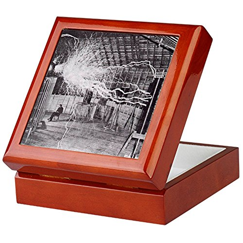 CafePress-Nikola Tesla-Keepsake Box, fertig Hartholz Jewelry Box, Samt Gefüttert Memento Box mahagoni - Dampf-spule