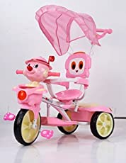 GoodLuck Baybee Convertible Tinman Tricycle Trike with Canopy and Parent Push Control for Boys and Girls, 1-3 Years (Pink)