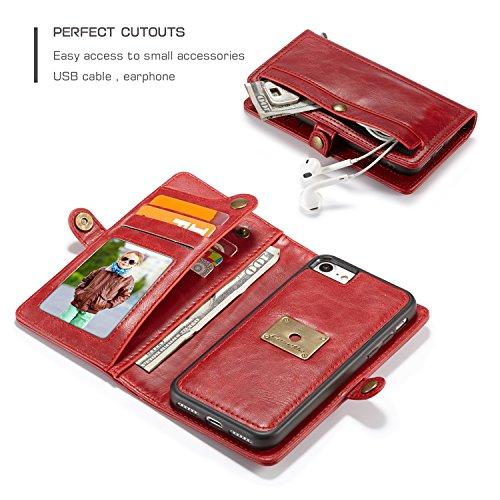 EKINHUI CaseMe Wallet Case [Retro Style] [Handgelenkschlaufe] Für iPhone 7 iPhone 8 Plus Card Case Premium Schützende PU Leder Flip Magnetic Cover ( Color : Brown ) Red