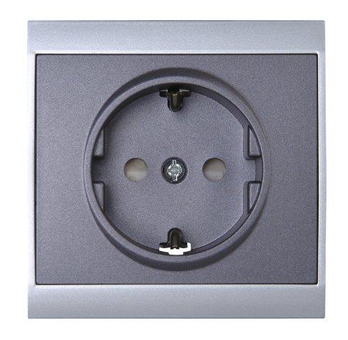 Preisvergleich Produktbild Kopp 923450087 Malta Schutzkontakt-Steckdose mit erhöhtem Berührungsschutz (Kinderschutzabdeckung), silber-anthrazit